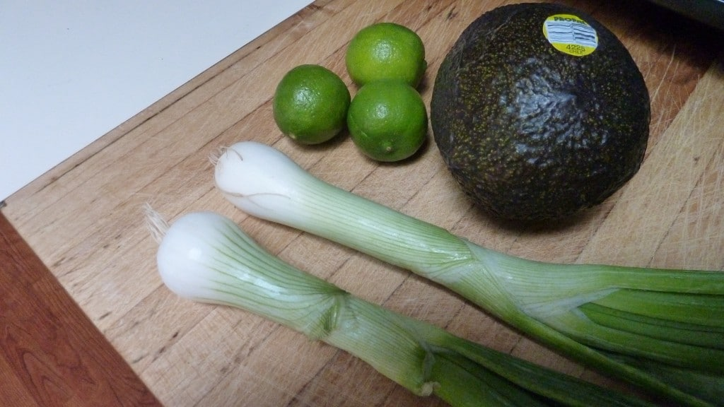 Green onions, key limes, avocado