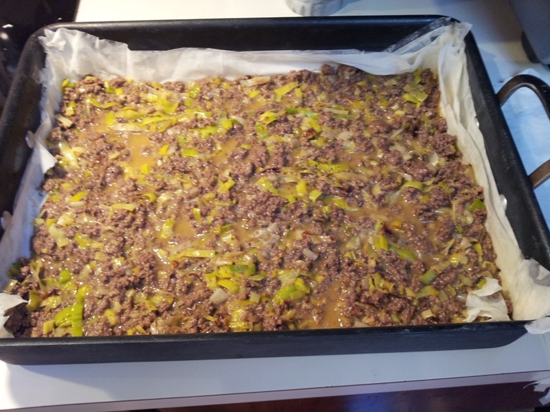 meat leek egg mixture