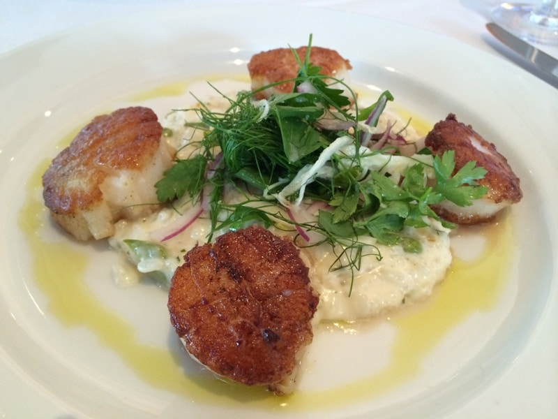 Ocean Prime Sea Scallops w/ Parmesan Risotto, English Peas, Citrus Vinaigrette