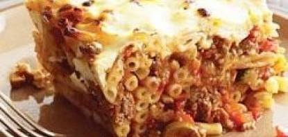 pastitsio-baked pasta with meat sauce