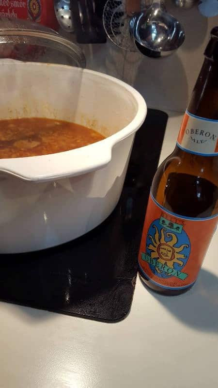 Beef Stew and broth & beer