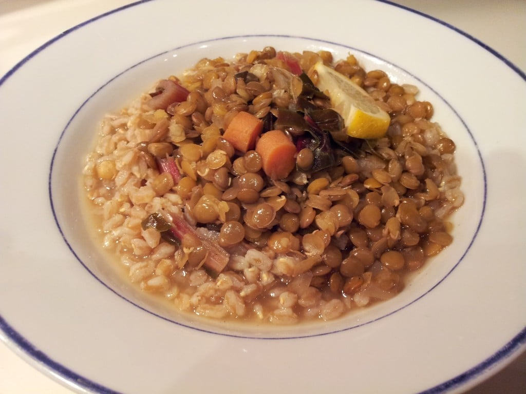 Farro and lentils