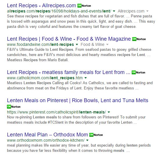 Lenten Recipes