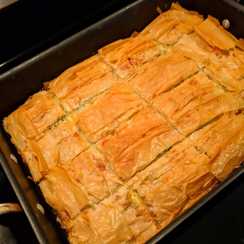 Spanakopita with feta cheese